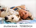 Woman With Dogs At Home....