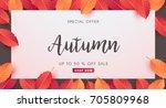autumn sale background layout...   Shutterstock .eps vector #705809968