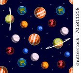 space elements seamless pattern | Shutterstock .eps vector #705811258