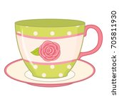 vector tea cup with saucer. tea ... | Shutterstock .eps vector #705811930