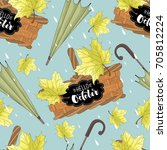 seamless pattern with umbrellas ... | Shutterstock .eps vector #705812224