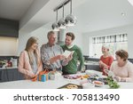 family are cooking a meal... | Shutterstock . vector #705813490