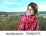 outdoor portrait of young girl - stock photo