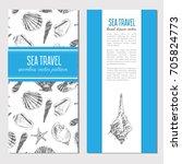 seashells hand drawn vector... | Shutterstock .eps vector #705824773