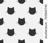 cat head seamless pattern.... | Shutterstock .eps vector #705830740