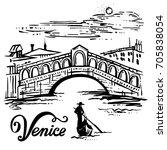 ink drawing of the bridge of... | Shutterstock .eps vector #705838054