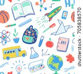 back to school seamless pattern.... | Shutterstock .eps vector #705838570