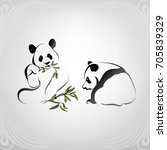 vector silhouette of two pandas | Shutterstock .eps vector #705839329