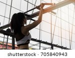 fitness woman exercising on... | Shutterstock . vector #705840943