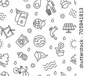 black and white eco related... | Shutterstock .eps vector #705841813