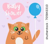vector baby shower invitation... | Shutterstock .eps vector #705843310