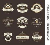 oktoberfest celebration beer...   Shutterstock .eps vector #705844480