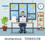 office workplace with table ... | Shutterstock .eps vector #705845158