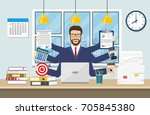 happy businessman with many... | Shutterstock .eps vector #705845380