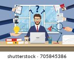 happy businessman with many... | Shutterstock .eps vector #705845386