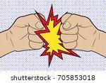 fist to fist pop art. vector... | Shutterstock .eps vector #705853018