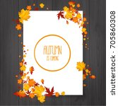 brochure with autumn leaves.... | Shutterstock .eps vector #705860308