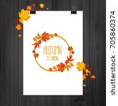 brochure with autumn leaves.... | Shutterstock .eps vector #705860374