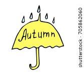 umbrella and raindrops vector... | Shutterstock .eps vector #705862060