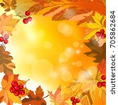 autumn background with leaves.... | Shutterstock .eps vector #705862684