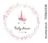 baby shower for newborn... | Shutterstock .eps vector #705863338