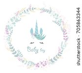 baby shower for newborn... | Shutterstock .eps vector #705863344
