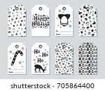 christmas and new year gift... | Shutterstock .eps vector #705864400