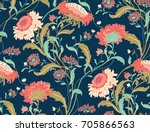 seamless colorful floral... | Shutterstock .eps vector #705866563