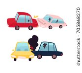 vector flat cartoon car crash ... | Shutterstock .eps vector #705868270