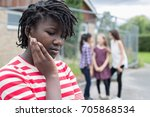 sad teenage girl feeling left... | Shutterstock . vector #705868534