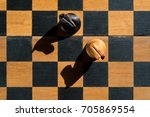 top view chess knights stand on ... | Shutterstock . vector #705869554