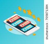 isometric smartphone rating... | Shutterstock .eps vector #705871384