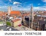 aerial view on marienplatz town ... | Shutterstock . vector #705874138