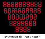 led font digital alphabet... | Shutterstock .eps vector #705875854
