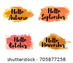 orange and red hello autumn... | Shutterstock .eps vector #705877258