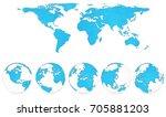 world map globe detail... | Shutterstock . vector #705881203