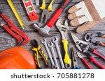 set of tools on wooden... | Shutterstock . vector #705881278