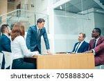 view of a boss heading a... | Shutterstock . vector #705888304