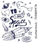 to the space quote vector... | Shutterstock .eps vector #705889978
