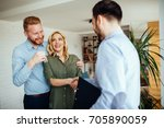 photo of a smiling young couple ... | Shutterstock . vector #705890059