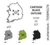 south korea icon in cartoon... | Shutterstock .eps vector #705890170