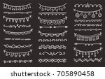hand drawn set of doodle border ... | Shutterstock .eps vector #705890458