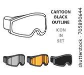 ski goggles icon in cartoon... | Shutterstock .eps vector #705890644
