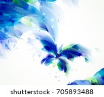 Stock vector abstract butterfly with blue and cyan blots 705893488