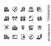 gift flat icons. | Shutterstock .eps vector #705898549