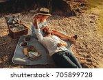beautiful couple enjoying... | Shutterstock . vector #705899728