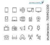 communication device line icons.... | Shutterstock .eps vector #705901330