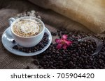 hot coffee decorated with... | Shutterstock . vector #705904420