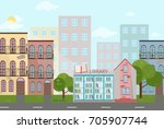 bookshop in a town vector... | Shutterstock .eps vector #705907744