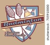 badminton emblem | Shutterstock .eps vector #705910000
